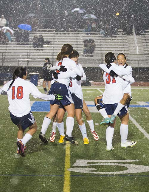 Girls' Soccer Celebration
