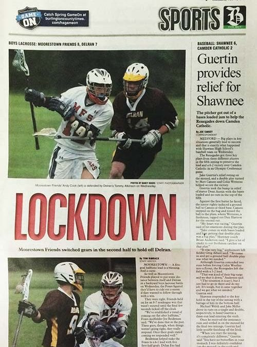Boys' Lacrosse Tops Front Page of Burlington County Times