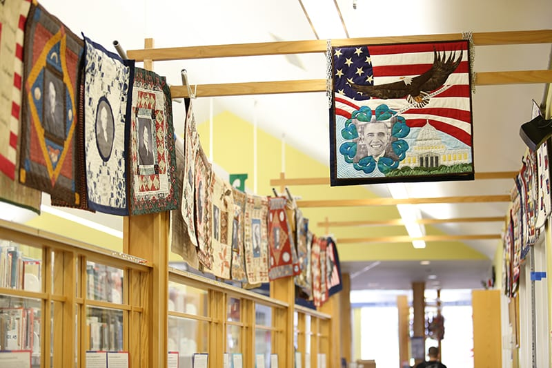 Presidential Quilt Project Display in Library