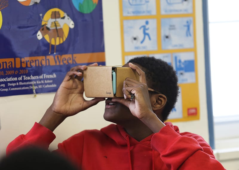 Eighth Grade French Class Travels to France with Google Cardboard's Virtual Reality