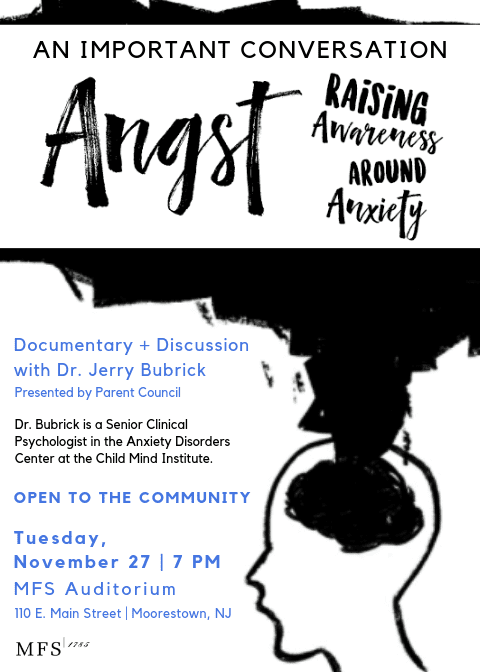 "Parent Council Presents ""Angst,"" a Documentary and Discussion with Dr. Jerry Bubrick"