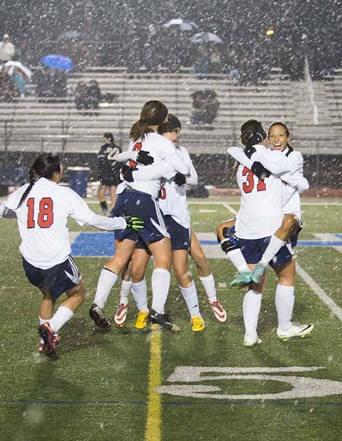 Girls' Soccer Celebration
